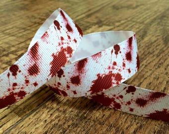 5 yards 7/8 zombie ribbon. The walking dead ribbon, blood splatter ribbon, hairbows, grosgrain ribbon, craft, crafting, sewing, ribbon