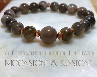 Moonstone & sunstone bracelet.