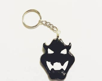 Super Mario, Bowser Keychain, Black and White Keychain, Video Game Keychain, Video Game Charm Accessory