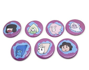 Steven Universe Pin Set, Steven Universe Gems, Cartoon Button Set, Gem Button Set, Steven Universe Pinback Set