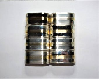 Silver Plated Two-Tone Napkin Rings - Set of 8