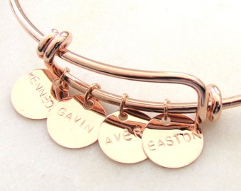 Name Bangle Bracelet,Disc Bracelet,Custom Name Bracelet, Silver, Rose Gold, or 16k Gold Plated, Women's Personalized Bracelet, Grandma Gift