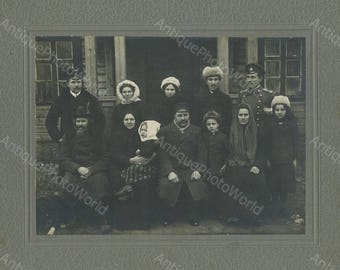 Russian family group with soldiers antique photo