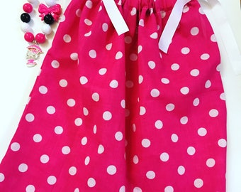 Girls Pink And White Polka Dot Pillow Case Dress, Girls Spring Dresses, Party Dresses, Pillow Case Dresse For Toddlers, Toddler Spring Dress
