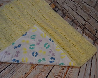 Crochet Cable Blanket, Reversible Blanket, Tummy Time Blanket, Flannel Baby Toes Blanket, Baby Shower Gift, OOAK, Gender Neutral Gift