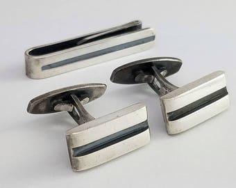 Vintage Hans Hansen Denmark Sterling Silver Modernist Cuff Links & Tie Clip