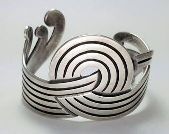 Vintage Los Castillo Taxco Mexican Sterling Silver Cuff Bracelet