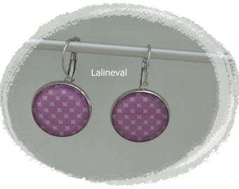 Stud Earrings with purple and white polka dots