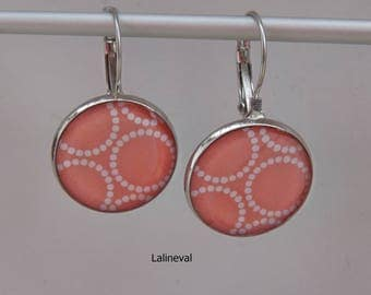 Coral Stud Earrings decorated with polka dots circles