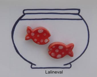 Stud Earrings ceramic fish mini red polka dots