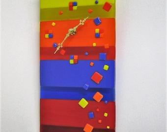 Chock-a-Block Fused Glass Clock