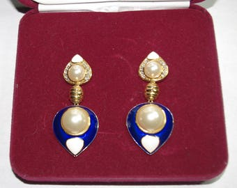 Jackie Kennedy Pierced Earrings -  24K GP Pearls with Blue and White Enameling, Crystals, Box and COA