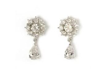 Audrey Hepburn DIAMOND DROP EARRINGS - Faux Stones - Pierced