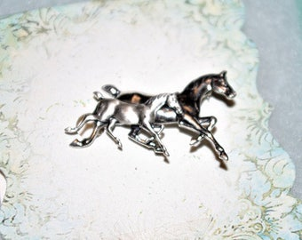 Sterling Silver HORSE PIN - Mother & Foal - TMS