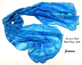 Blue Silk Shawl, Hand Painted Silk, Aquamarine Wrap, Classic Blue, Unique Hand Dyed, Ocean Colors, One of a kind, by Jossiani.