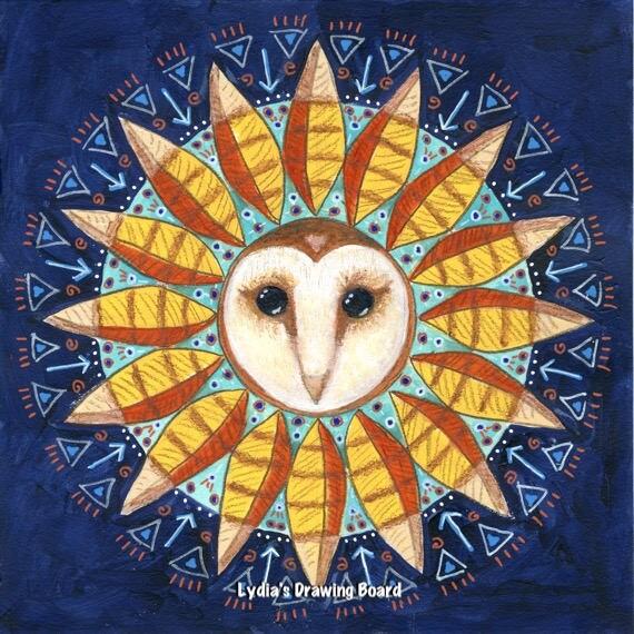 mandala print mandala wall art owl art owl artwork meditation art woodland art energy art spiritual art owl mandala owl art print