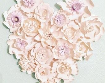 White paper flowers heart