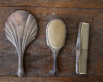 Vintage Mirror & Brush Set - Art Deco