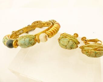 Signed Miriam Haskell Egyptian Revival Scarab Bracelet and Earrings Set