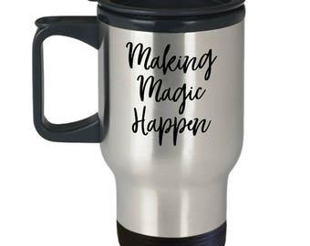 Making Magic Happen Disney Castle Travel Mug Coffee Inspirational Motivational