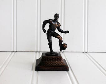 Soccer Player Pencil Sharpener Metal Die Cast Miniature Soccer Figure 1980's Vintage New in the Box Figurine