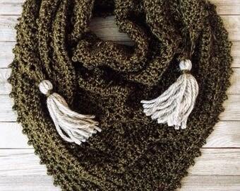 Meadowlark Triangle Shawl | Crochet Shawl | Crochet Triangle Shawl | Green | Gifts for Her