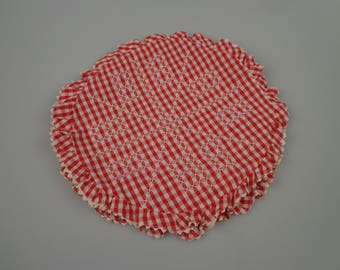 Vintage Gingham Pillow Cover - Red & White - Cross Stitch - 50s - ECS