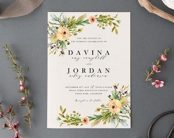 Wildflower Wedding Invitation Set,Printable Rustic Cottage Suite,Outdoor Garden Floral Wedding Invite,Romantic Vintage Fall Wedding Invites