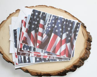 American Flag Card Set - Thank You Card Set - Greeting Card Set - Hello Cards - Encouragement Cards - Blank Card Set of 6
