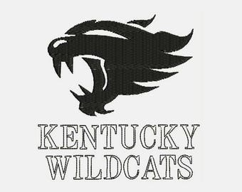 Kentucky WildCats Basketball Logo With Tag Embroidery Design - Instant Download Filled Stitches Design 508C