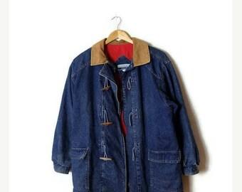 ON SALE Vintage Denim x Corduroy collar  Zip up Duffle Coat /Jacket from 1980's*