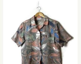 ON SALE Vintage Oversized Botanical printed short sleeve blouse from 1980's/Hawaiian*