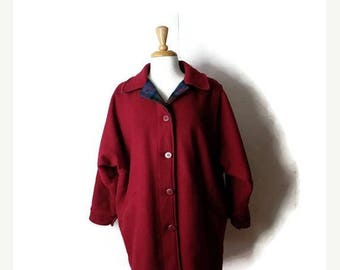Clearance SALE 40% off Vintage Woolrich Burgundy Wool button down Coat / Jacket from 80's*