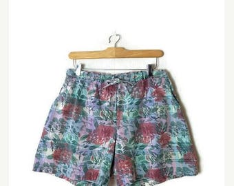 ON SALE Vintage Faded Floral Cotton Shorts from 1980's*
