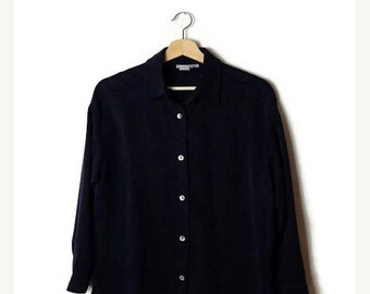 ON SALE Vintage Plain Navy/Dark Blue Long sleeve Slouchy Blouse from 90's*