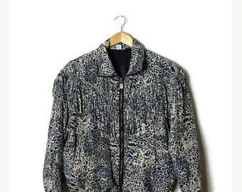 ON SALE Vintage Leopard Fringed Silk Windbreaker/Zip up Jacket from 90's*