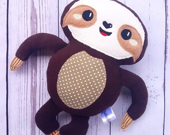Plush sloth-Softy-Brown lovely baby sloth-Sleeping toy-Cuddle-Present-Gift for kids-Cuddly toy -Handmade-Smiling- Birthday- For boys