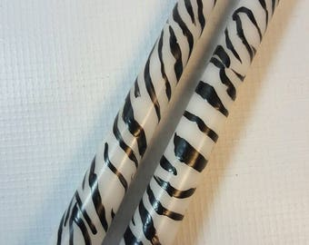 Zebra stripe hand painted taper candles, zebra decor, black and white stripped candles, animal print candles