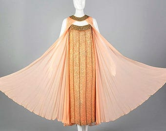 SALE Small 1960s Unique Evening Dress Alternative Wedding Gown Chiffon Formal Dress Vintage 1960s 60s Beaded Dress with Cape