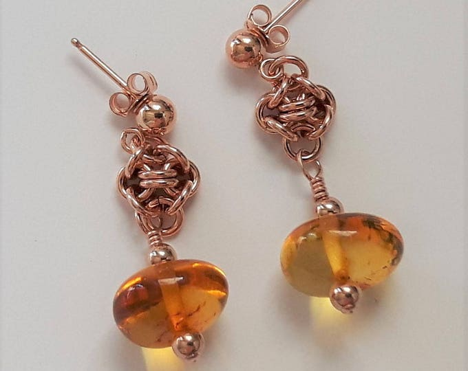 Amber Glow Earrings (Post and Nugget Style)