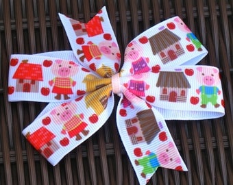 Storybook 4 inch Bow - 3 Little Pigs Bow - Fairy Tale Bows - Fairy Tale Party - BowBravo