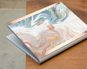Brown Nacre Marble and Rose Gold Edge Vinyl Skin for Microsoft Surface Book , Surface Laptop , Surface Pro 2017  - Platinum Edition