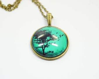 Necklace Tree birds Glass