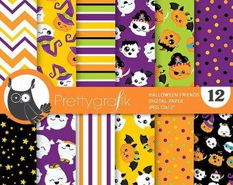 80% OFF SALE Halloween digital papers, pumpkin, scrapbook papers commercial use, Halloween scrapbook papers, background  - PS819