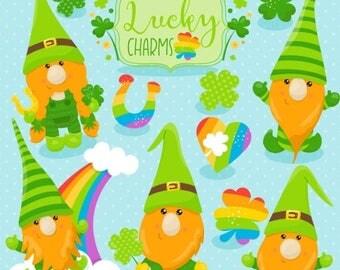 80% OFF SALE St-Patrick's gnomes clipart commercial use, vector graphics, fox digital clip art, digital images  - CL1060