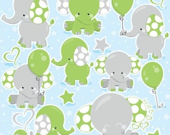 80% OFF SALE Elephant Clipart, boy elephant clip art commercial use, green elephant vector graphics, animal digital images - CL976