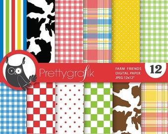 80% OFF SALE Farm animals digital paper, commercial use, scrapbook papers, background - PS683