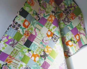 Handmade patchwork quilt, single bed quilt, patchwork throw, blanket, lap quilt, ready to post
