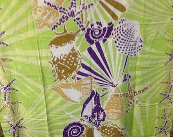 Sea Shells Pareu/ Sarong. Full Length Fringe less Sarong/Beach Wear, Pareu.