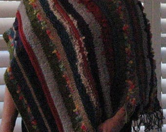 Handknit Multi-Colored Woman's Poncho, One Size